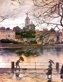 Набережная Рей в Базеле в дождь (А.Н. Бенуа, 1902 г.)