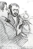 Женя Лансере и Шура Бенуа в ресторане. 1897 г.